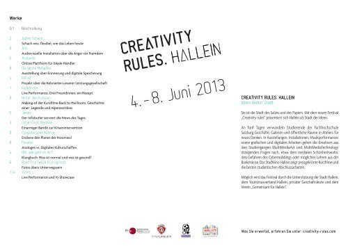 Creativity rules - Fachhochschule Salzburg