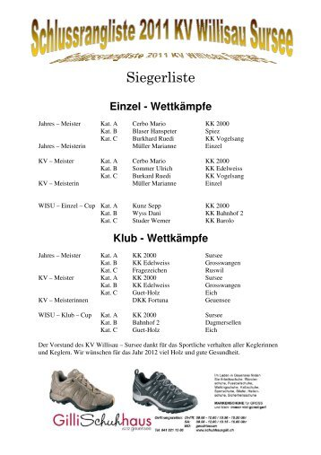 Schlussrangliste 2011 - Unterverband Willisau-Sursee der SFKV
