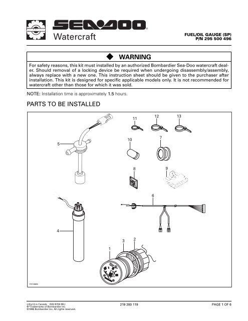 Sea Doo Jet Ski Parts Diagram