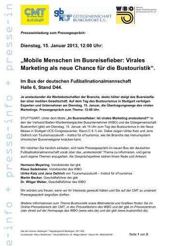 """Dienstag, 15. Januar 2013, 12:00 Uhr: """"Mobile Menschen im ..."""