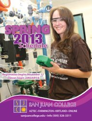 Spring Schedule 2013 - San Juan College