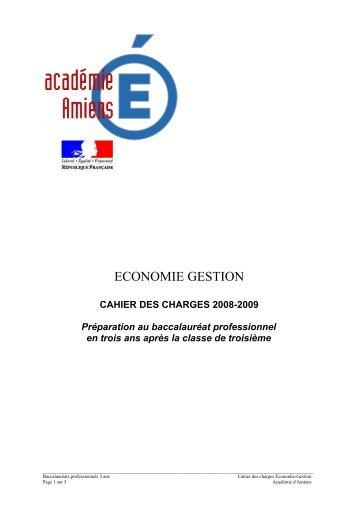 cahier des charges - Economie et Gestion au lycée professionnel ...
