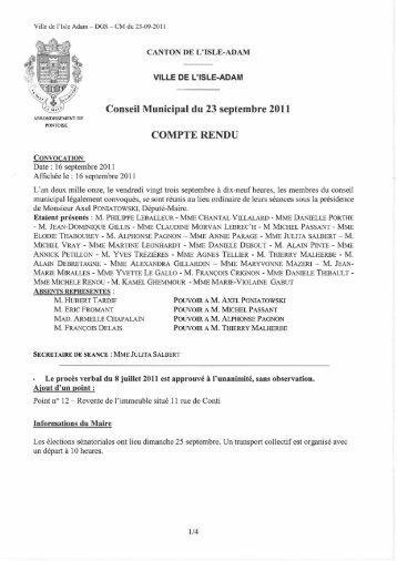 Conseil Municipal du 23 septembre 2011 COMPTE ... - L'Isle-Adam
