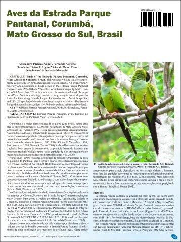 Aves da Estrada Parque Pantanal, Corumbá, Mato Grosso do Sul ...