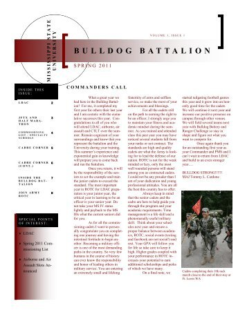 Spring 2011 Newsletter - Army ROTC - Mississippi State University