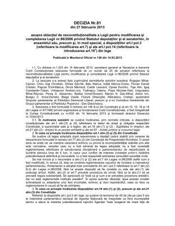3. Decizia nr. 81 din data de 27.02.2013 - Curtea Constituţională a ...
