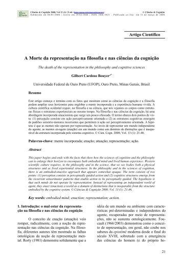 A Morte da representação na filosofia e nas ciências da cognição