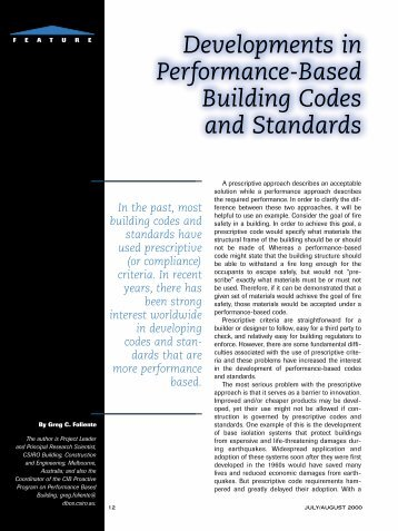 Developments in Performance-Based Building Codes and Standards