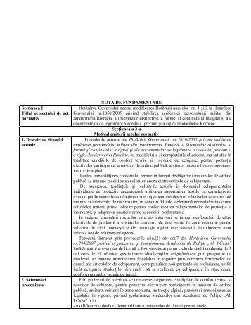 NOTA DE FUNDAMENTARE - Secretariatul General al Guvernului
