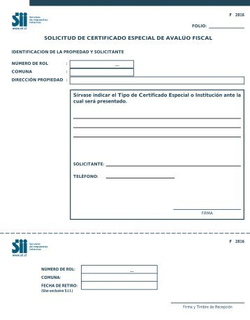 Form. 2816 - Servicio de Impuestos Internos