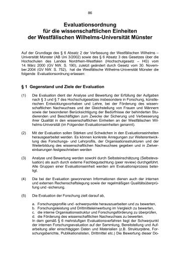 Evaluationsordnung - Westfälische Wilhelms-Universität Münster