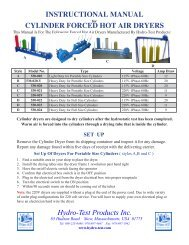 cylinder forced hot air dryers - Hydro-Test Products, Inc