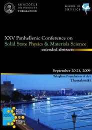 XXV Panhellenic Conference on Solid State Physics & Materials ...