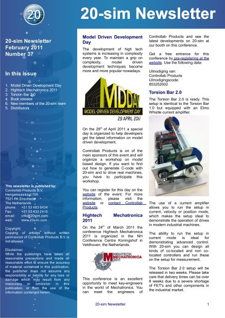 20-sim Newsletter February 2011 Number 37 In this issue