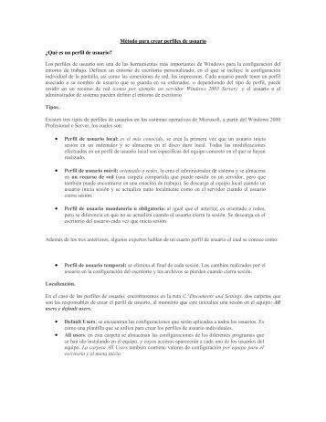 Método para crear perfiles de usuario ¿Qué es ... - Mundo Manuales
