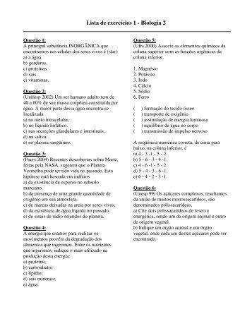 Lista de exercícios 1 - Biologia 2