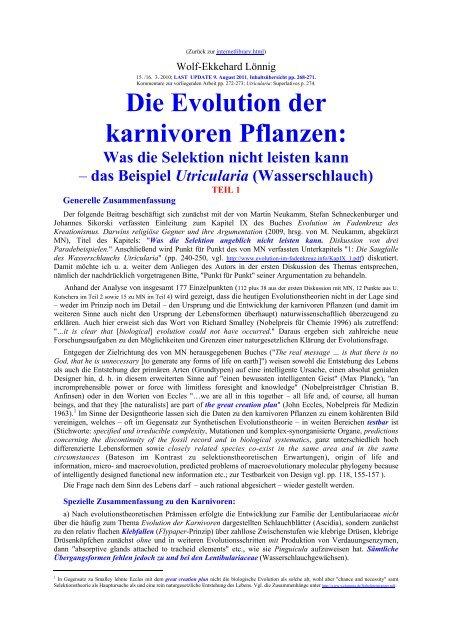 Die Evolution der karnivoren Pflanzen: - Wolf-Ekkehard Lönnig