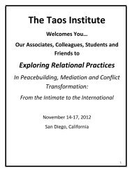 Conference Schedule and Program - The Taos Institute