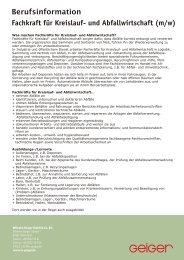 Fachkraft für Kreislauf- und Abfallwirtschaft (m/w) - Geiger