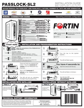 PASSLOCK-SL2 Guide D'Installation - Fortin Electronic Systems