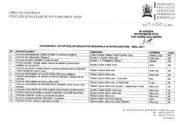 Calendarul activităţilor educative regionale şi interjudeţene - ISJ Olt