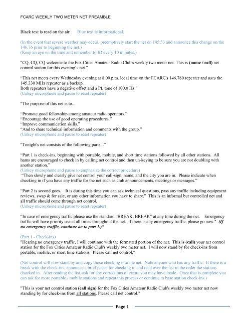 234987c6b5 Wednesday 2 Meter Net Preamble10-3-10.pdf - Fox Cities Amateur ...