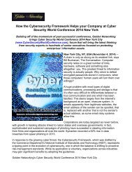 How the Cybersecurity Framework Helps your Company at Cyber Security World Conference 2014 New York