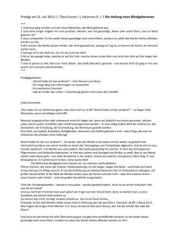 Theo Enzner || Johannes 9, 1-7 Die Heilung ... - Jesus-lebt-Kirche