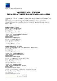 Manifesto del Corso di Dottorato in Ingegneria Meccanica