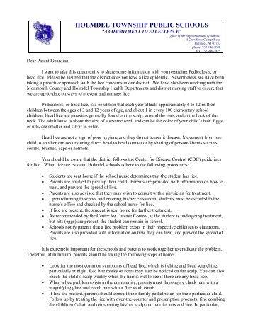 letter from superintendent duncan regarding head licenits holmdel