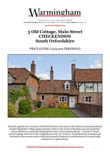 3 Old Cottage, Main Street CHECKENDON South ... - Warmingham