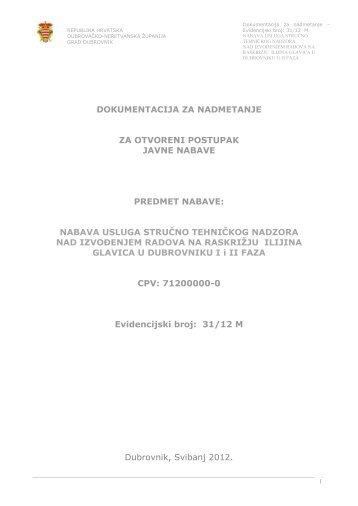 DOKUMENTACIJA ZA NADMETANJE ZA ... - Grad Dubrovnik