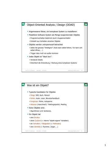 Object-Oriented Analysis / Design (OOAD) Was ist ein Objekt?