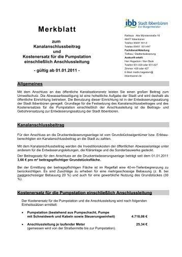 Merkblatt zum Kanalanschlussbeitrag und ... - Stadt Ibbenbüren