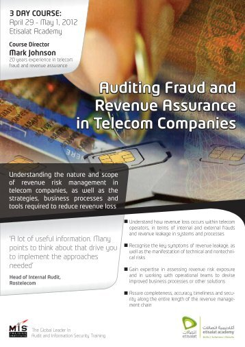 Auditing Fraud and Revenue Assurance in Tel ... - Etisalat Academy
