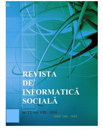 No 13 - Journal of Social Informatics / Revista de Informatica Sociala