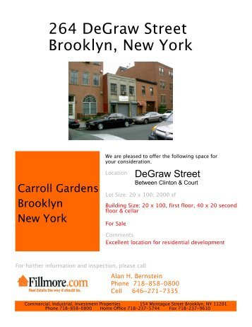 264 DeGraw Street Brooklyn, New York - Alan H. Bernstein Consulting