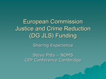 (DG JLS) Funding - CEP, the European Organisation for Probation