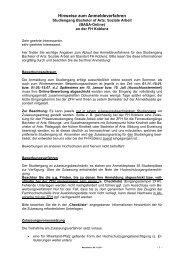 Hinweise zum Anmeldeverfahren - ZFH