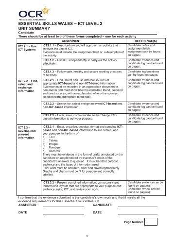 Level 2 ICT Recording Documents - Y Pant School
