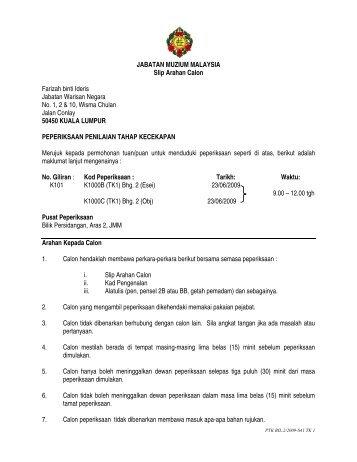 JABATAN MUZIUM MALAYSIA Slip Arahan Calon Farizah binti ...