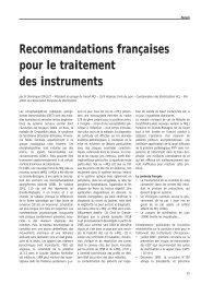 Recommandations françaises pour le traitement des instruments