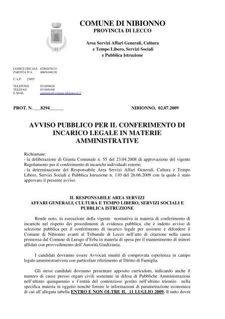 AVVISO PUBBLICO PER CONFERIMENTO INCARICO LEGALE IN ...