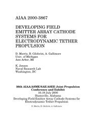 aiaa 2000-3867 developing field emitter array cathode systems for ...