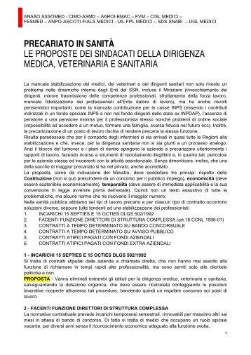 Il precariato in sanità: le proposte dei sindacati della ... - CIMO ASMD