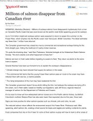 Millions of salmon disappear from Canadian river - Watershed ...