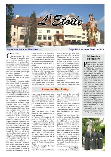 Lettre de Mgr Fellay - La Porte Latine