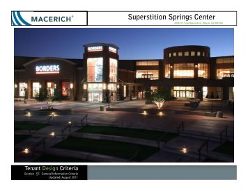 Superstition Springs Center General Information Criteria - Macerich