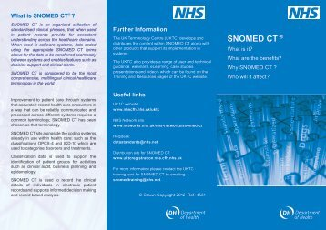 Overview of SNOMED CT - NHS Connecting for Health