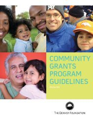 community grants program guidelines - The Denver Foundation